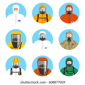 Chemical industry icons set. Different worker people in protective suits in flat style isolated on blue background. Dangerous profession. Vector illustration.