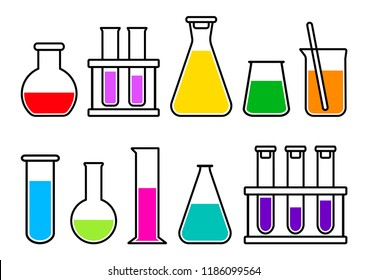 Chemical lab equipment with colorful liquid. Vector illustration