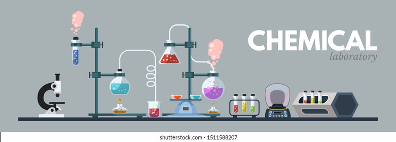 Chemical lab equipment flat vector illustration. Scientific tools, microscope, flasks with toxic liquid isolated clipart on grey background. Cartoon medical and chemistry laboratory banner design