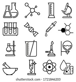 Chemical lab vector icons set. research illustration sign collection. Chemistry and biotechnology symbol.