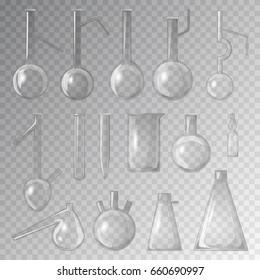 Chemical laboratory 3d realistic lab glass flask glassware tube liquid analysis medical equipment vector illustration.