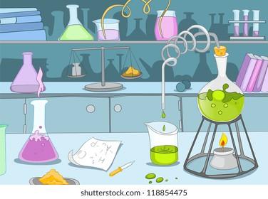 Chemical Laboratory. Cartoon Background. Vector Illustration EPS 10.
