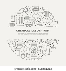 Chemical laboratory equipment brochure template. Circle poster with vector linear icons for research in chemistry.