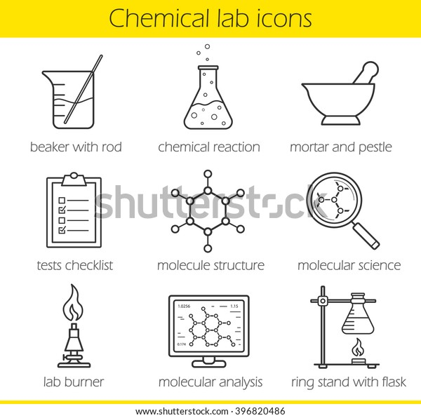 chemical laboratory equipment linear icons set  beaker with rod, chemical  reaction, test checklist