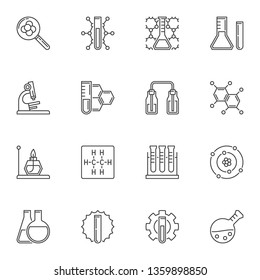 Chemical laboratory equipment minimal icons or signs in thin line style
