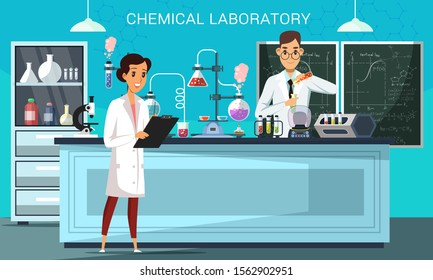 Chemical laboratory flat vector illustration. Male and female scientists, teacher and student in classroom cartoon characters. Chemists making experiments. Medical and scientific lab banner design
