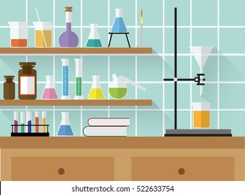 Chemical laboratory with glass and equipment. Flat vectors