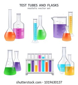 Chemical laboratory glassware equipment realistic set of test tubes flasks bottles retorts with colorful reagents isolated vector illustration