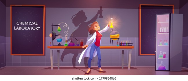 Chemical laboratory interior with scientific equipment, glass flasks, tubes and beakers, blackboard on wall. Vector cartoon illustration with woman chemist doing science research, medical test in lab