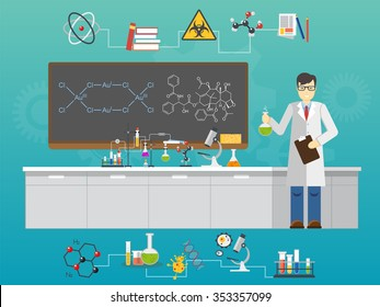 Chemical laboratory science and technology flat style design vector illustration. Scientists Chemist workplace concept.