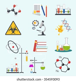 Chemical laboratory science and technology flat style design vector illustration icons. Workplace tools icon.