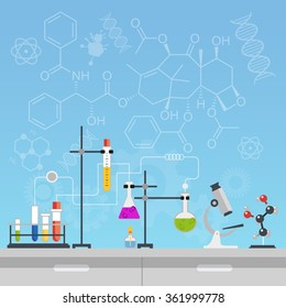 Chemical laboratory science and technology flat style design vector illustration. Workplace tools concept with formulas.