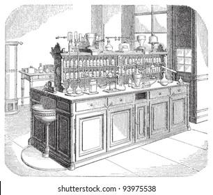 Chemical laboratory / vintage illustration from Meyers Konversations-Lexikon 1897