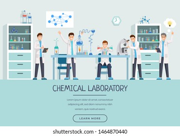 Chemical laboratory workers landing page template. Research group doing tests, studying liquids, substances cartoon characters. Creative scientists with innovative ideas website page design layout