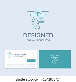 Chemical, Leak, Detection, Factory, pollution Business Logo Line Icon Symbol for your business. Turquoise Business Cards with Brand logo template
