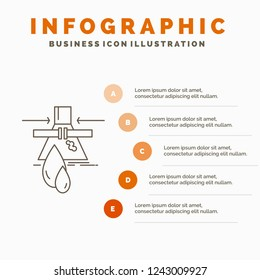 Chemical, Leak, Detection, Factory, pollution Infographics Template for Website and Presentation. Line Gray icon with Orange infographic style vector illustration