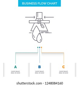 Chemical, Leak, Detection, Factory, pollution Business Flow Chart Design with 3 Steps. Line Icon For Presentation Background Template Place for text