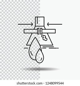 Chemical, Leak, Detection, Factory, pollution Line Icon on Transparent Background. Black Icon Vector Illustration