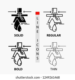 Chemical, Leak, Detection, Factory, pollution Icon in Thin, Regular, Bold Line and Glyph Style. Vector illustration