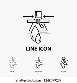 Chemical, Leak, Detection, Factory, pollution Icon in Thin, Regular and Bold Line Style. Vector illustration