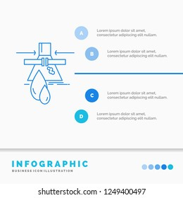 Chemical, Leak, Detection, Factory, pollution Infographics Template for Website and Presentation. Line Blue icon infographic style vector illustration