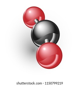 Chemical model of carbon dioxide element CO2 molecule and molecular structure. White background