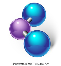 Chemical model of nitrogen dioxide element molecule and molecular structure. White background