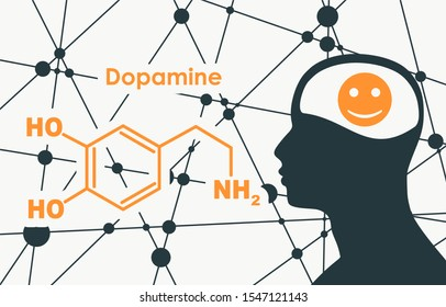 Chemical molecular formula hormone dopamine. Silhouette of a man head. Connected lines with dots background