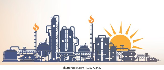 chemical, petrochemical or processing plant, heavy industry landscape, industrial background