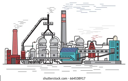Chemical Plant, industrial building isolated on white background, flat outline style vector illustration