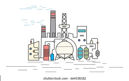 Chemical Plant isolated on white background, Petrochemical industry concept, flat outline style vector illustration