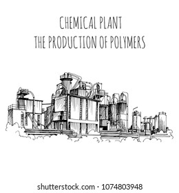 Chemical plant, the production of polymers, hand-drawn sketch