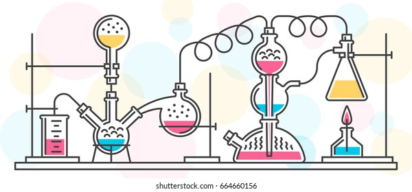 A chemical reaction consisting of flasks and tools in laboratory, performed in a line style. Vector color illustration. Possible reconfiguration.
