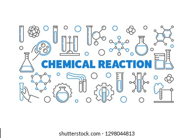 Chemical Reaction vector concept outline modern banner. Education and chemistry concept illustration