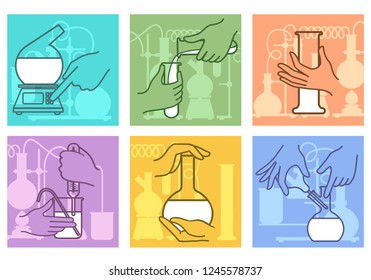Chemical research combination. Science lab experiment chemicals mixing, liquids chemical reaction laboratory equipment with hands, vector illustration