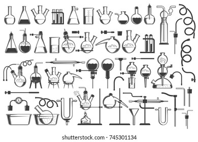 Chemical science design elements great set - equipment, flasks, retorts, containers, racks, hoses and so on.