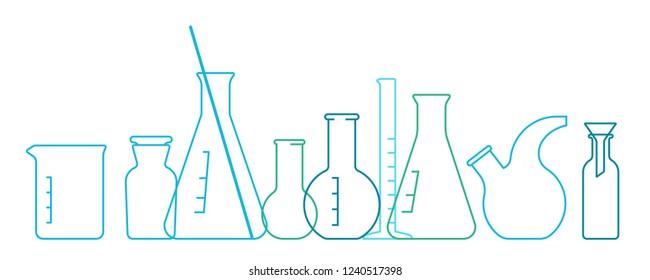 Chemical Science Equipment glassware. Glass empty beakers,flasks,test tubes, bottles.