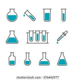 Chemical science lab equipment - test tubes icons. Different shapes. Isolated on white background. Vector illustration, eps 8.