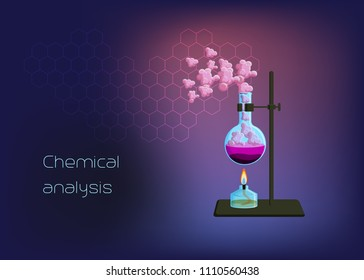 Chemical scientific background template with burner and beaker with solid phase, heating liquid and gas vapor. Online chemistry education concept. Cartoon style vector illustration.