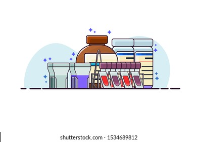 Chemical staining set for clinical hematology laboratory analysis consist of coupling jar, Wright-Giemsa stain and buffer solution, Peripheral blood smear slides, methanol, forceps and metal rack.