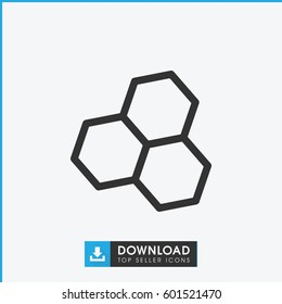 chemical structure icon. simple outline chemical structure vector icon. on white background.