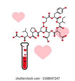 Chemical tube and oxytocin vector icon, chemistry of love