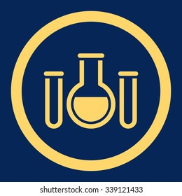 Chemical Vessels vector icon. Style is flat rounded symbol, yellow color, rounded angles, blue background.