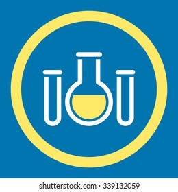 Chemical Vessels vector icon. Style is bicolor flat rounded symbol, yellow and white colors, rounded angles, blue background.
