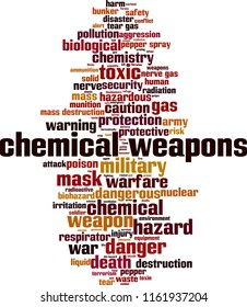 Chemical weapons word cloud concept. Vector illustration