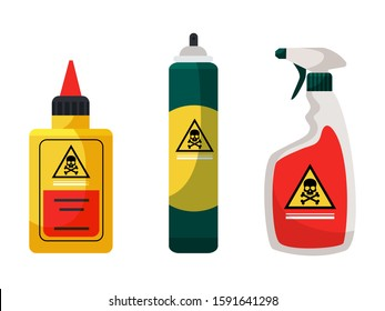 Chemicals for insect extermination and disinfection set. Containers, bottles. Spray, aerosol, liquid toxic poison. Pest control service. Accessories and repellents. Vector cartoon flat illustration