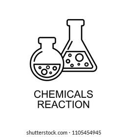 chemicals reaction outline icon. Element of enviroment protection icon with name for mobile concept and web apps. Thin line chemicals reaction icon can be used for web and mobile on white background