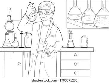 Chemist. Chemical laboratory. Coloring pages.