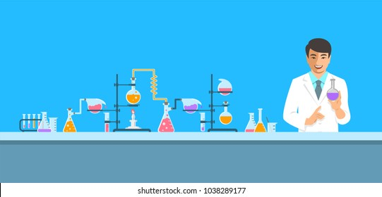 Chemist in chemical laboratory. Flat vector background. Cartoon horizontal banner. Asian man scientist in white coat holds flask with new medicine near pharmaceutical equipment. Medical research