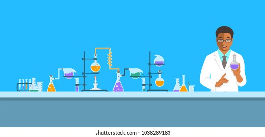 Chemist in chemical laboratory. Flat vector background. Cartoon horizontal banner. Black man scientist in white coat holds flask with new medicine near pharmaceutical equipment. Medical research